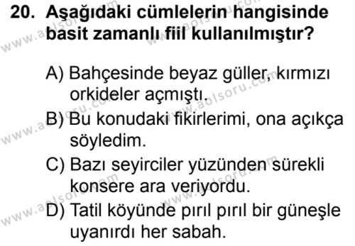 Türk Dili ve Edebiyatı 2 Dersi 2019-2020 Yılı 1. Dönem Sınavı 20. Soru