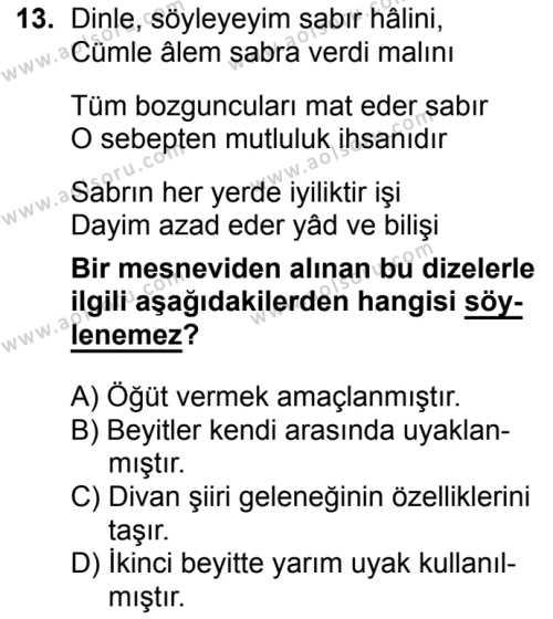 Türk Dili ve Edebiyatı 3 Dersi 2017-2018 Yılı 1. Dönem Sınavı 13. Soru