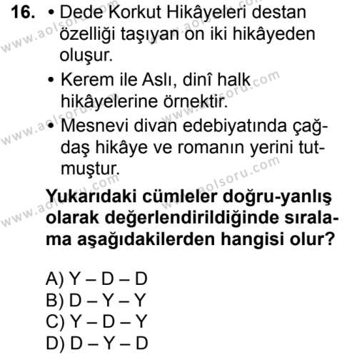 Türk Dili ve Edebiyatı 3 Dersi 2017-2018 Yılı 1. Dönem Sınavı 16. Soru