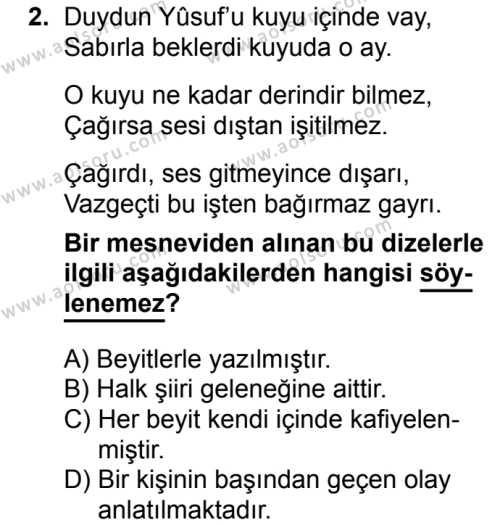 Türk Dili ve Edebiyatı 3 Dersi 2017 - 2018 Yılı 2. Dönem Sınavı 2. Soru