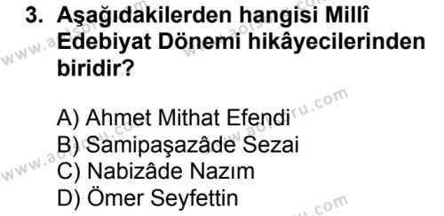 Türk Dili ve Edebiyatı 3 Dersi 2017 - 2018 Yılı 2. Dönem Sınavı 3. Soru