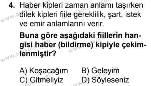 Türk Dili ve Edebiyatı 3 Dersi 2017 - 2018 Yılı 2. Dönem Sınavı 4. Soru
