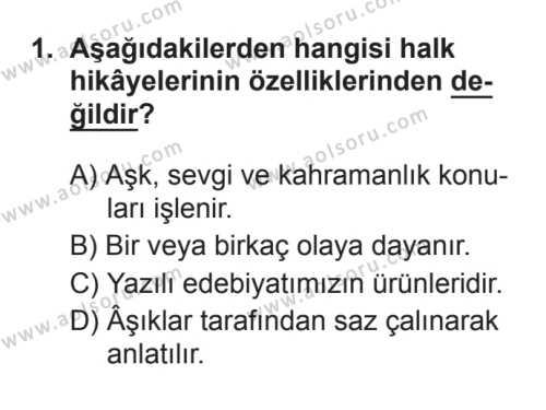 Türk Dili ve Edebiyatı 3 Dersi 2017 - 2018 Yılı 3. Dönem Sınavı 1. Soru