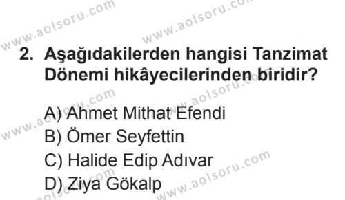Türk Dili ve Edebiyatı 3 Dersi 2017 - 2018 Yılı 3. Dönem Sınavı 2. Soru
