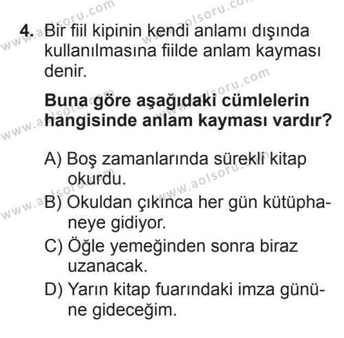 Türk Dili ve Edebiyatı 3 Dersi 2017 - 2018 Yılı 3. Dönem Sınavı 4. Soru