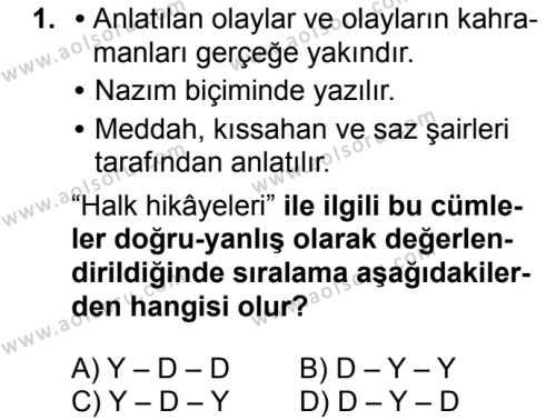 Türk Dili ve Edebiyatı 3 Dersi 2018 - 2019 Yılı 1. Dönem Sınavı 1. Soru