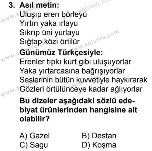 Türk Dili ve Edebiyatı 3 Dersi 2018 - 2019 Yılı 1. Dönem Sınavı 3. Soru