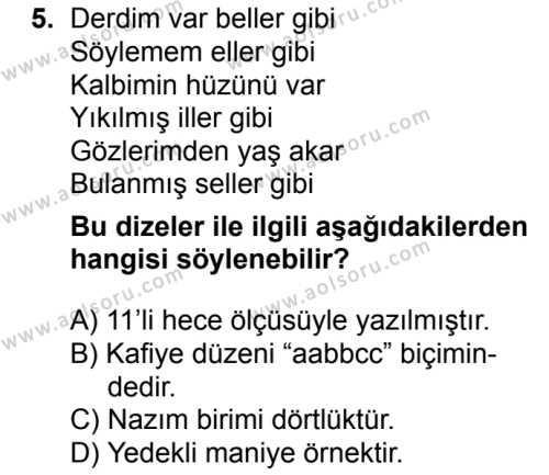 Türk Dili ve Edebiyatı 3 Dersi 2018-2019 Yılı 1. Dönem Sınavı 5. Soru