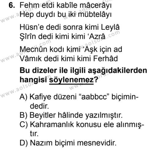 Türk Dili ve Edebiyatı 3 Dersi 2018-2019 Yılı 1. Dönem Sınavı 6. Soru