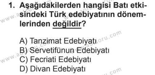Türk Dili ve Edebiyatı 3 Dersi 2018 - 2019 Yılı 2. Dönem Sınavı 1. Soru