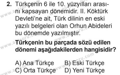 Türk Dili ve Edebiyatı 3 Dersi 2018 - 2019 Yılı 2. Dönem Sınavı 2. Soru