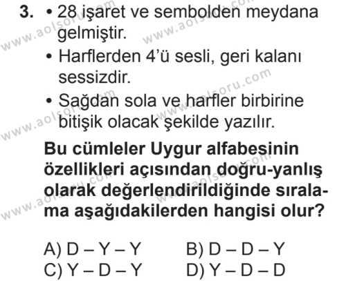 Türk Dili ve Edebiyatı 3 Dersi 2018 - 2019 Yılı 2. Dönem Sınavı 3. Soru