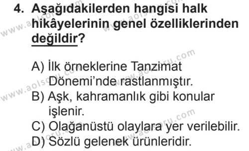 Türk Dili ve Edebiyatı 3 Dersi 2018 - 2019 Yılı 2. Dönem Sınavı 4. Soru