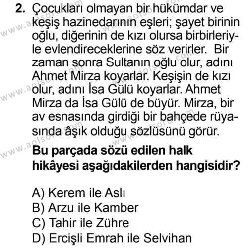 Türk Dili ve Edebiyatı 3 Dersi 2018 - 2019 Yılı 3. Dönem Sınav Soruları 2. Soru