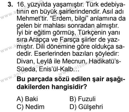 Türk Dili ve Edebiyatı 3 Dersi 2018 - 2019 Yılı 3. Dönem Sınav Soruları 3. Soru