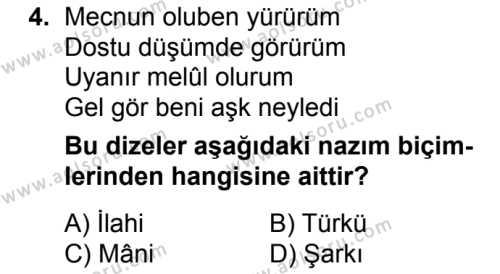 Türk Dili ve Edebiyatı 3 Dersi 2018 - 2019 Yılı 3. Dönem Sınav Soruları 4. Soru