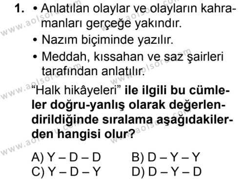 Türk Dili ve Edebiyatı 3 Dersi 2018 - 2019 Yılı Ek Sınavı 1. Soru