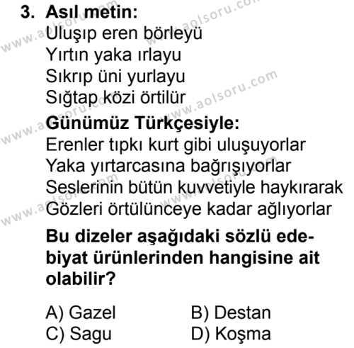 Türk Dili ve Edebiyatı 3 Dersi 2018 - 2019 Yılı Ek Sınavı 3. Soru