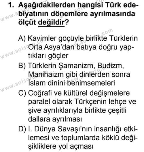 Türk Dili ve Edebiyatı 3 Dersi 2019 - 2020 Yılı 1. Dönem Sınav Soruları 1. Soru