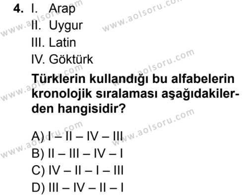 Türk Dili ve Edebiyatı 3 Dersi 2019 - 2020 Yılı 1. Dönem Sınav Soruları 4. Soru