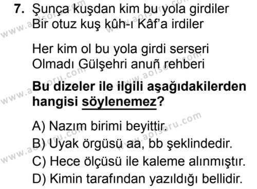 Türk Dili ve Edebiyatı 3 Dersi 2019-2020 Yılı 1. Dönem Sınavı 7. Soru