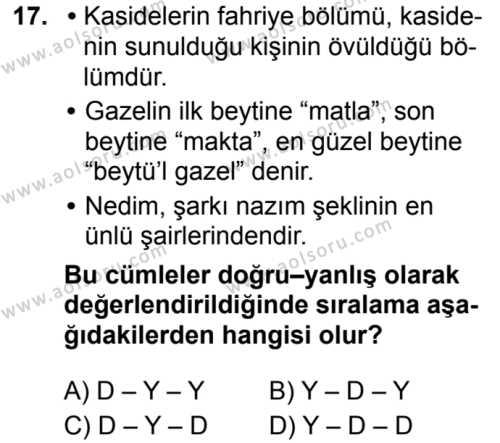 Türk Dili ve Edebiyatı 3 Dersi 2019-2020 Yılı 1. Dönem Sınavı 17. Soru