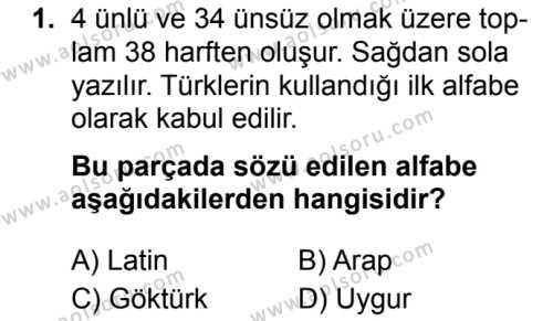 Türk Dili ve Edebiyatı 3 Dersi 2019 - 2020 Yılı 2. Dönem Sınav Soruları 1. Soru