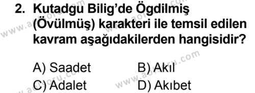 Türk Dili ve Edebiyatı 3 Dersi 2019 - 2020 Yılı 2. Dönem Sınav Soruları 2. Soru