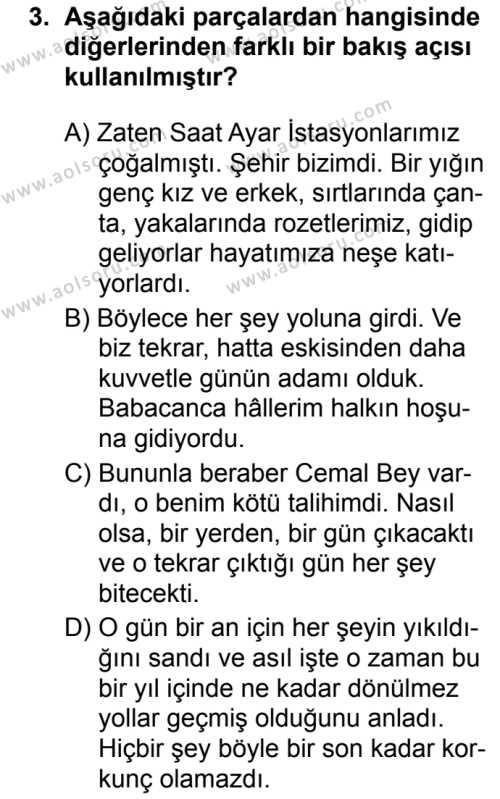 Türk Dili ve Edebiyatı 3 Dersi 2019 - 2020 Yılı 2. Dönem Sınav Soruları 3. Soru