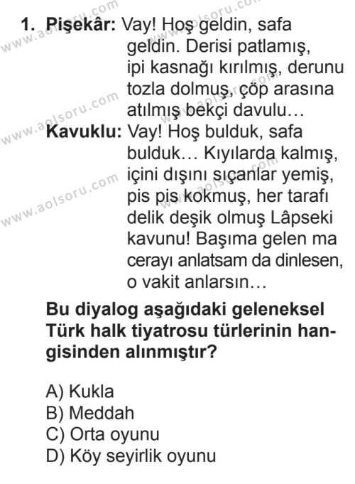 Türk Dili ve Edebiyatı 4 Dersi 2017 - 2018 Yılı 3. Dönem Sınavı 1. Soru