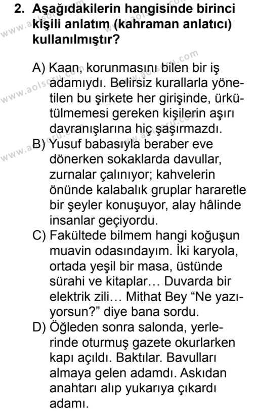 Türk Dili ve Edebiyatı 4 Dersi 2018 - 2019 Yılı 1. Dönem Sınavı 2. Soru