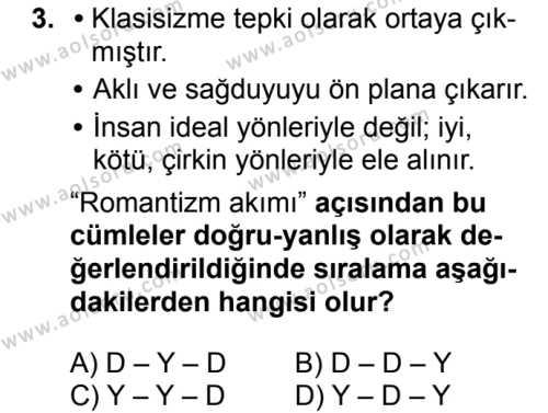 Türk Dili ve Edebiyatı 4 Dersi 2018 - 2019 Yılı 1. Dönem Sınavı 3. Soru