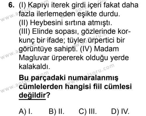 Türk Dili ve Edebiyatı 4 Dersi 2018-2019 Yılı 1. Dönem Sınavı 6. Soru