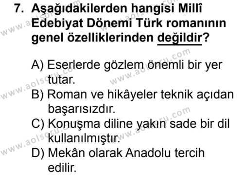 Türk Dili ve Edebiyatı 4 Dersi 2018-2019 Yılı 1. Dönem Sınavı 7. Soru