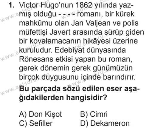 Türk Dili ve Edebiyatı 4 Dersi 2018 - 2019 Yılı 2. Dönem Sınavı 1. Soru