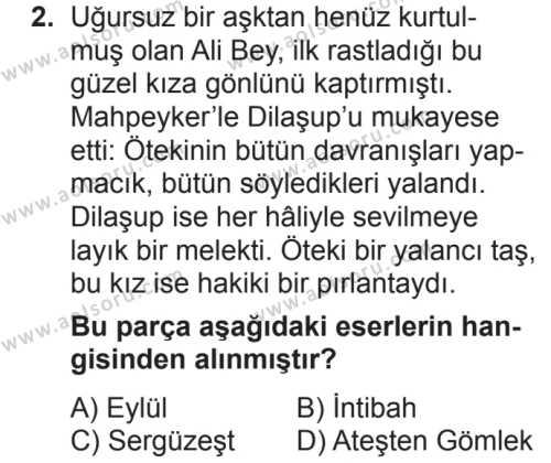 Türk Dili ve Edebiyatı 4 Dersi 2018 - 2019 Yılı 2. Dönem Sınavı 2. Soru