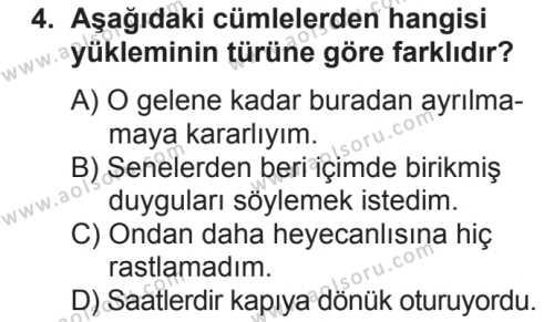 Türk Dili ve Edebiyatı 4 Dersi 2018 - 2019 Yılı 2. Dönem Sınavı 4. Soru