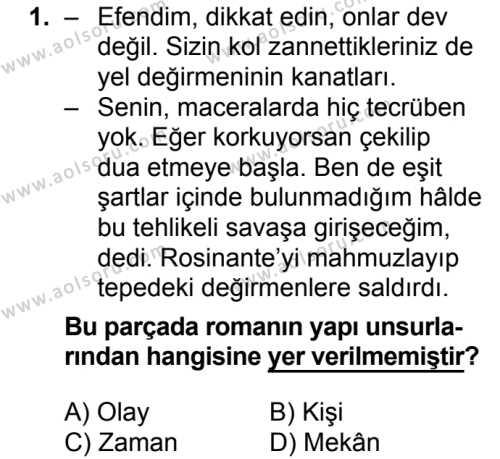 Türk Dili ve Edebiyatı 4 Dersi 2018 - 2019 Yılı 3. Dönem Sınavı 1. Soru