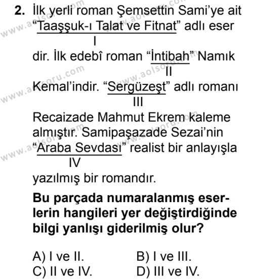 Türk Dili ve Edebiyatı 4 Dersi 2018 - 2019 Yılı 3. Dönem Sınav Soruları 2. Soru