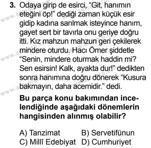 Türk Dili ve Edebiyatı 4 Dersi 2018 - 2019 Yılı 3. Dönem Sınavı 3. Soru