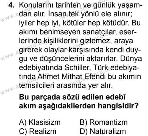 Türk Dili ve Edebiyatı 4 Dersi 2018 - 2019 Yılı 3. Dönem Sınavı 4. Soru