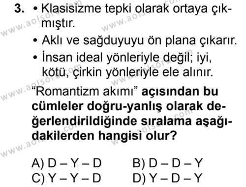 Türk Dili ve Edebiyatı 4 Dersi 2018 - 2019 Yılı Ek Sınav Soruları 3. Soru