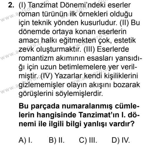 Türk Dili ve Edebiyatı 4 Dersi 2019 - 2020 Yılı 1. Dönem Sınav Soruları 2. Soru