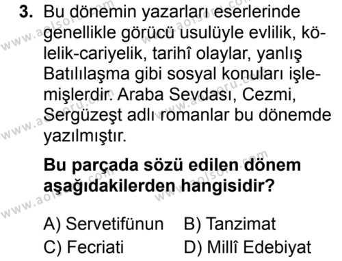 Türk Dili ve Edebiyatı 4 Dersi 2019 - 2020 Yılı 1. Dönem Sınav Soruları 3. Soru