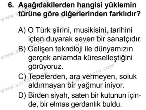 Türk Dili ve Edebiyatı 4 Dersi 2019-2020 Yılı 1. Dönem Sınavı 6. Soru