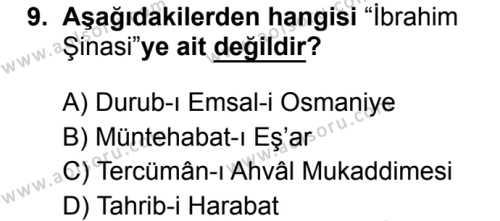 Türk Dili ve Edebiyatı 4 Dersi 2019-2020 Yılı 1. Dönem Sınavı 9. Soru