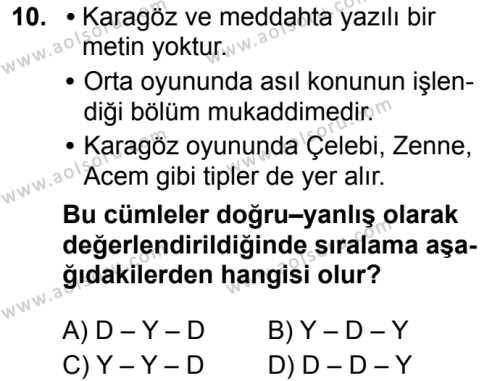 Türk Dili ve Edebiyatı 4 Dersi 2019-2020 Yılı 1. Dönem Sınavı 10. Soru