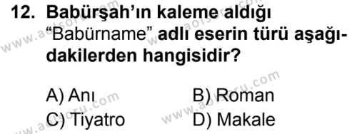 Türk Dili ve Edebiyatı 4 Dersi 2019-2020 Yılı 1. Dönem Sınavı 12. Soru