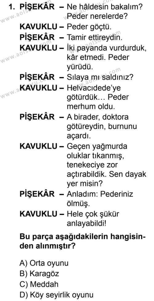 Türk Dili ve Edebiyatı 4 Dersi 2019 - 2020 Yılı 2. Dönem Sınav Soruları 1. Soru