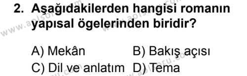 Türk Dili ve Edebiyatı 4 Dersi 2019 - 2020 Yılı 2. Dönem Sınav Soruları 2. Soru